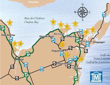 Carte des Réseau des Musées du Nord Est du Nouveau-Brunswick